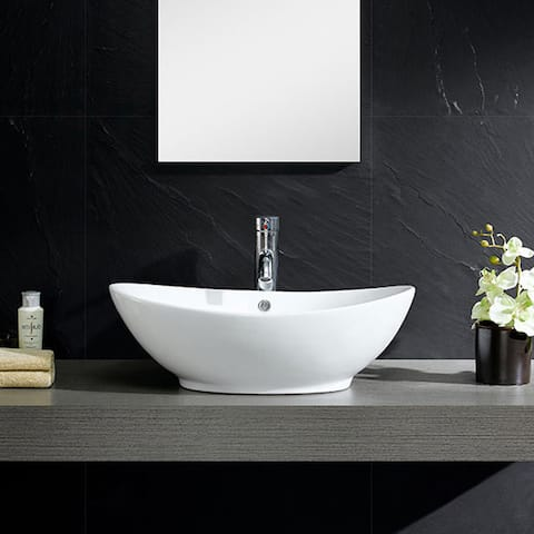 Somette White Vitreous China Oval Vessel Sink