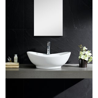 Fine Fixtures White Vitreous China Large Oval Vessel Sink