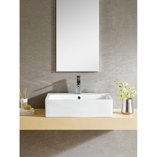 Somette Vitreous China Rectangular White Vessel Sink