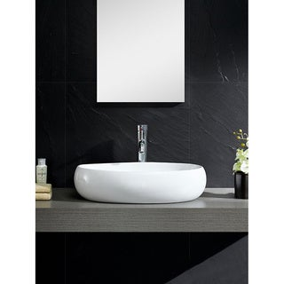 Fine Fixtures Vitreous China Bulging Oval White Vessel Sink
