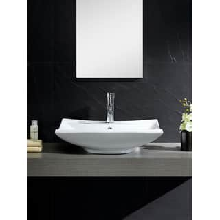 Fine Fixtures Vitreous China Beveled Rectangle White Vessel Sink
