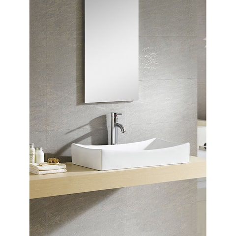 Fine Fixtures Vitreous China Sloping Rectangular White Vessel Sink