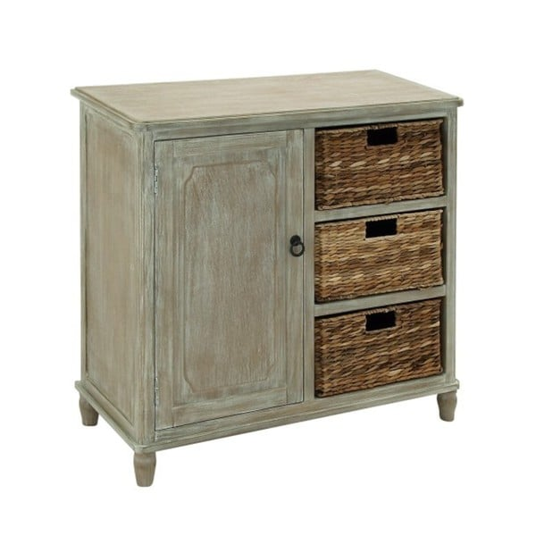 Wooden Brown 32-inch 3-basket Storage Cabinet - Free Shipping ...