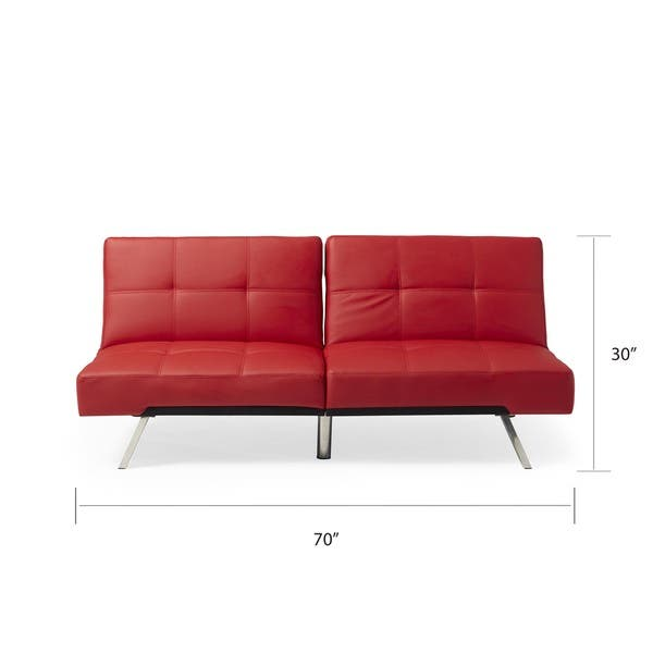 Pleasant Shop Abbyson Aspen Red Bonded Leather Foldable Futon Sleeper Pdpeps Interior Chair Design Pdpepsorg