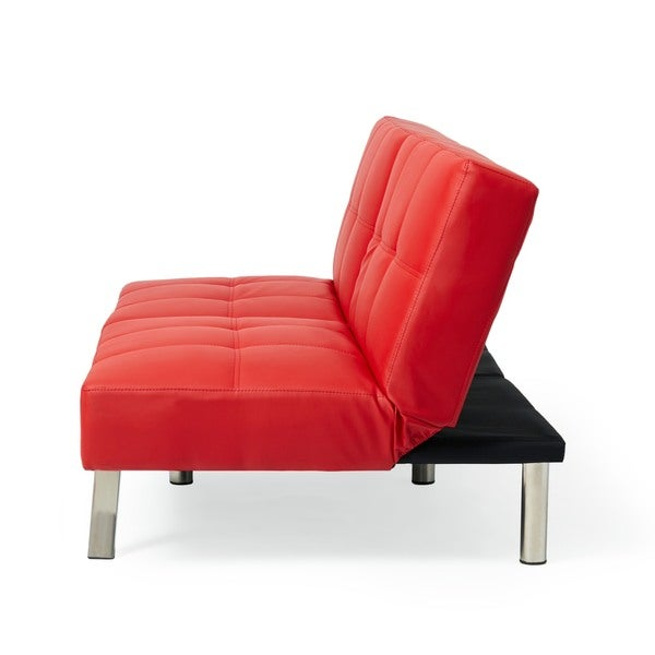 Abbyson Aspen Red Bonded Leather Foldable Futon Sleeper Sofa   Free  Shipping Today   Overstock.com   16897702