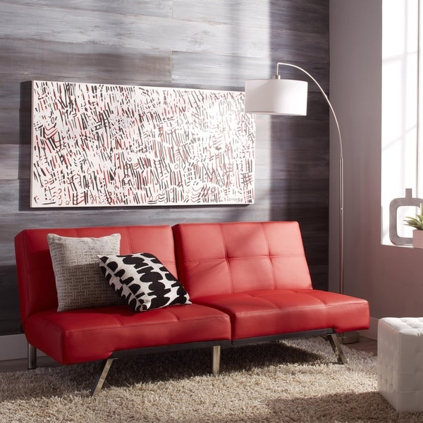 abbyson aspen red bonded leather foldable futon sleeper sofa abbyson aspen red bonded leather foldable futon sleeper sofa      rh   overstock