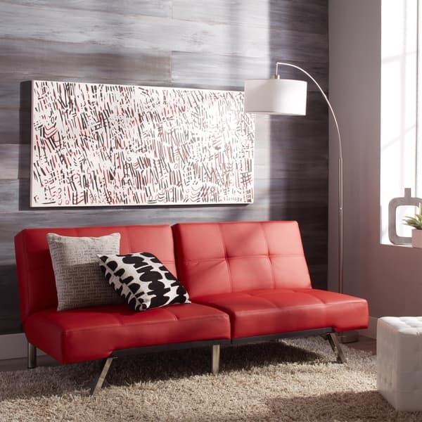 Shop Abbyson Aspen Red Bonded Leather Foldable Futon Sleeper ...