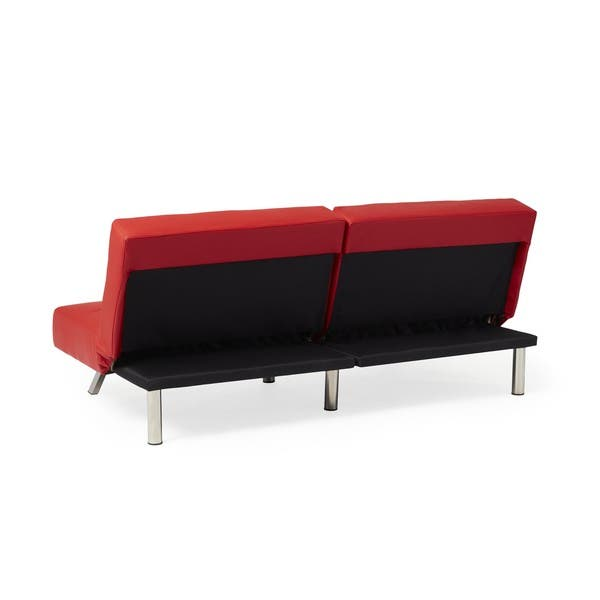 Shop Abbyson Aspen Red Bonded Leather Foldable Futon Sleeper Sofa ...