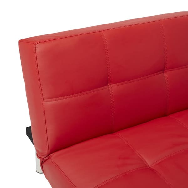 Shop Abbyson Aspen Red Bonded Leather Foldable Futon Sleeper Sofa ...