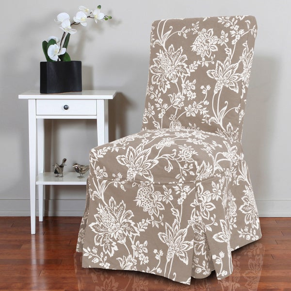 dining room chair slipcovers floral design | Shop QuickCover Verona 1-piece Floral Relaxed Fit Full ...