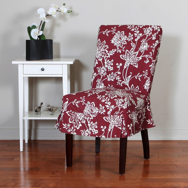 QuickCover Verona 1 Piece Relaxed Fit Floral Mid Pleat Dining Chair Slipcover