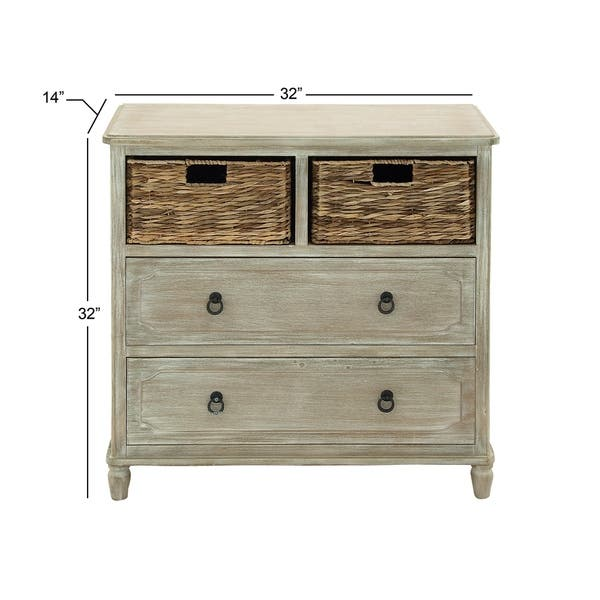 32 X Inch Wooden 2 Basket Dresser