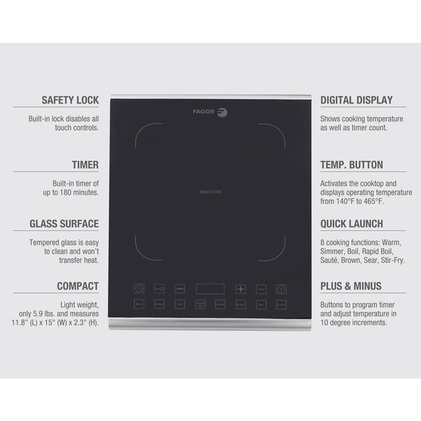Amazing Fagor America Induction Pro Stainless Steel/ Glass Portable Cooktop   Free  Shipping Today   Overstock.com   16897769