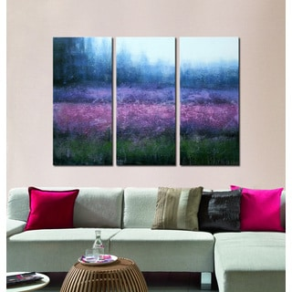 'Beautiful Lavender' 3-piece Hand-painted Gallery-wrapped Canvas Art Set