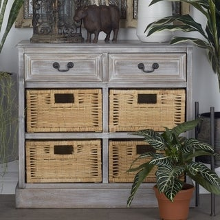Rustic 28 x 30 Inch Wooden Chest with 4-basket Drawers by Studio 350