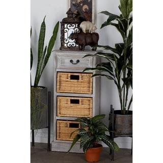 Wooden Light Brown 36-inch 3-basket Storage Cabinet