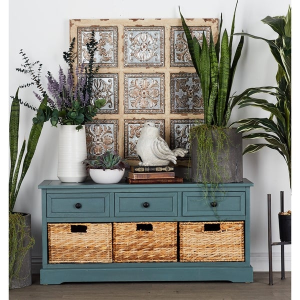 Farmhouse Slate Wooden 3 Drawer Chest With Baskets By Studio 350