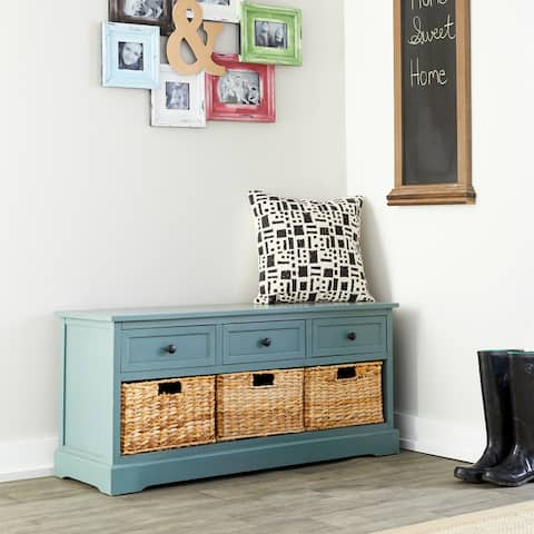 Farmhouse Slate Wooden 3-Drawer Chest with Baskets by Studio 350