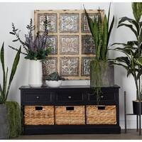 Farmhouse 20 x 42 Inch Wood and Wicker 3-basket Bench by Studio 350