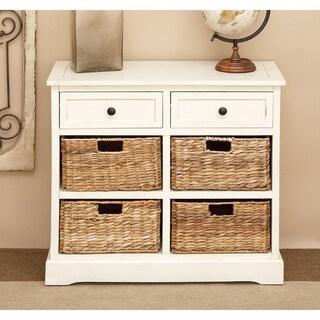 Antique White Wooden 4-Basket Cabinet by Studio 350