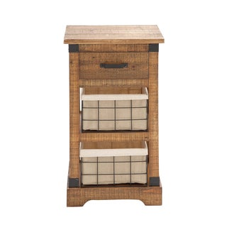 Wooden Metal 2-Basket Chest