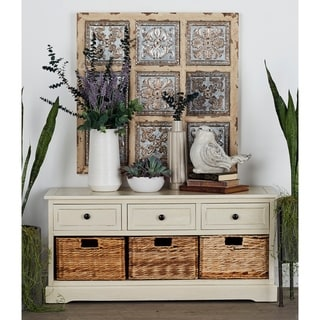 Farmhouse 20 x 42 Inch White Wooden 3 Basket Cabinet by Studio 350