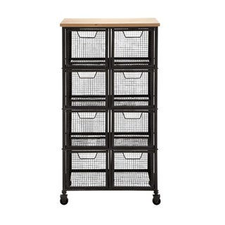 Iron and Wood Storage Cabinet