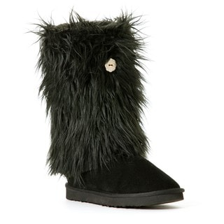 Hugrz Black Sherpa Boot Wraps with Criss-cross Lacing