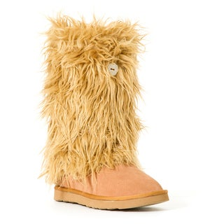 Hugrz Beige Sherpa Boot Wraps with Tan Criss-cross Lacing