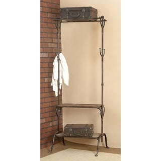 25 x 69 Metal and Wood Clothing Rack with Hooks and Shelves by Studio 350