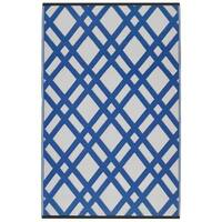 Fab Habitat Indoor Outdoor Recycled Plastic Reversible Dublin Blue and White Recycled Plastic Area Rug (6' x 9')