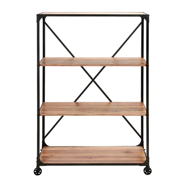Metal/ Wood Rolling Storage Shelf
