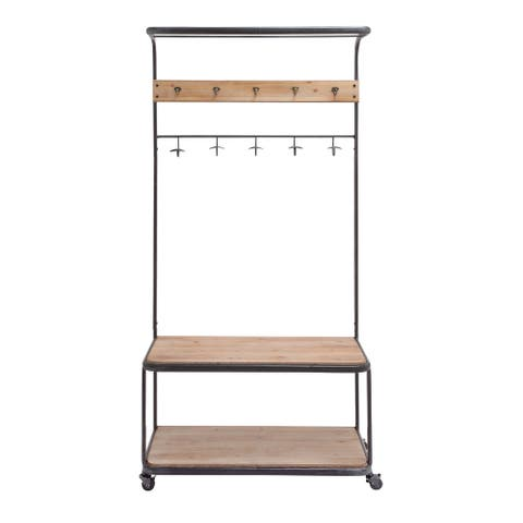 Iron 2-shelf Clothes Rack with Casters