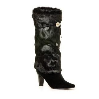 Black Faux Fur Crisscross Lacing Boot Wrap