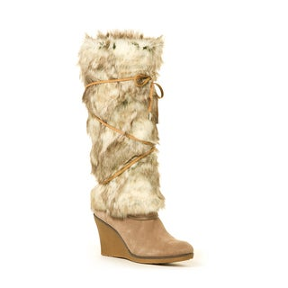 Faux Rabbit Tan Crisscross Lace Boot Wrap