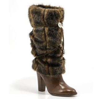 Hugrz Striped Mink-style Boot Wraps with Chocolate Lacing