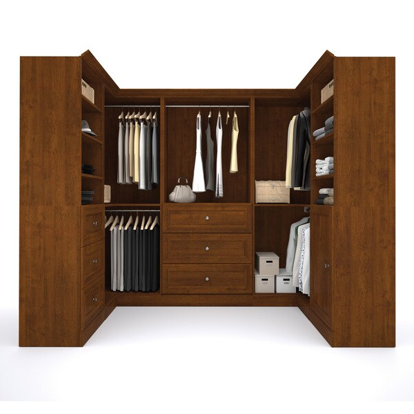 Versatile By Bestar 108 Inch Corner Closet Storage Kit   Free Shipping  Today   Overstock.com   16897903