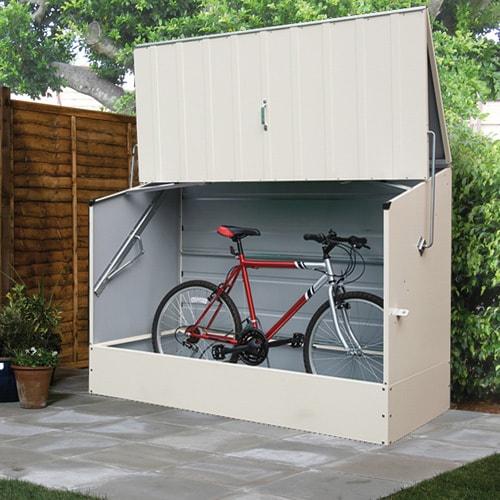 Marvelous Trimetals Cream Outdoor Heavy Duty Steel Bicycle Storage Locker   Free  Shipping Today   Overstock.com   16897925