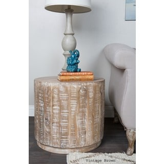 Cannie Hand Crafted Wood Round Side Table by Kosas Home