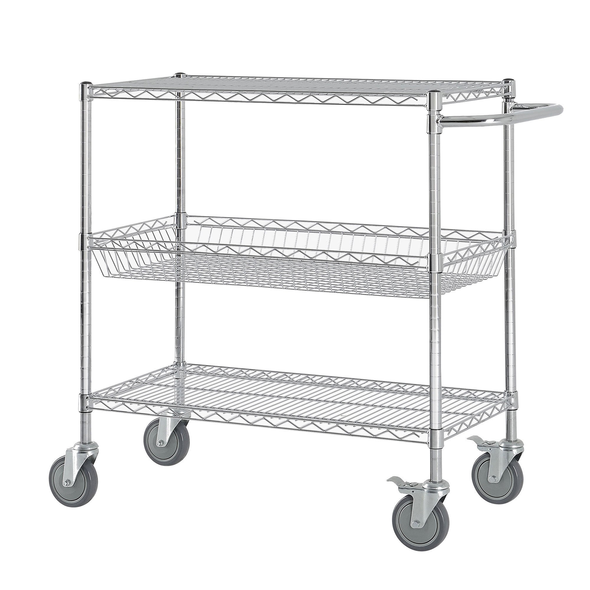 Heavy-duty Wire Shelving Cart Chrome Steel Rolling Pantry Storage ...