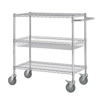 Excel Chrome  (40 in H x 36 in W x 18 in D) Chromed Steel Heavy-duty Wire Shelving Cart