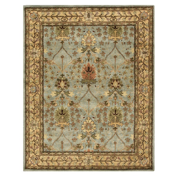 Hand-tufted Wool Blue Traditional Oriental Morris Rug (5' x 8')