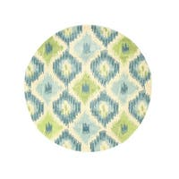 Hand-tufted Wool Ivory Contemporary Abstract Seagrass Ikat Rug (4' Round)