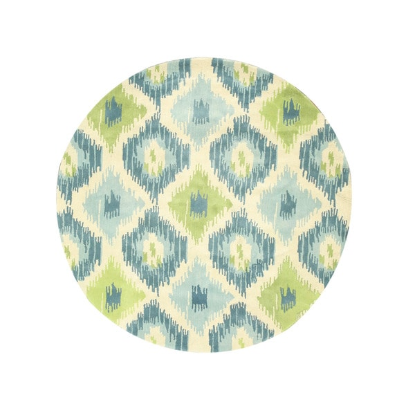 Hand-tufted Wool Ivory Contemporary Abstract Seagrass Ikat Rug - 6' Round