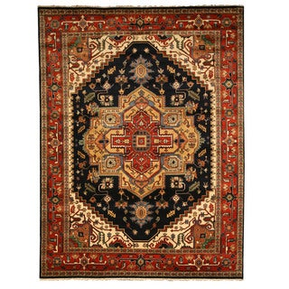 Hand-knotted Wool Navy Traditional Oriental Serapi Rug (9' x 12') - 9' x 12'