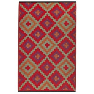Indo Saman Orange and Violet Geometric Area Rug (6' x 9')