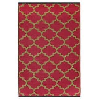 Indo Tangier Pinkberry and Bronze Geometric Area Rug (6' x 9')
