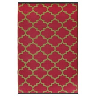 Handmade Indo Tangier Pinkberry and Bronze Geometric Area Rug (6' x 9')