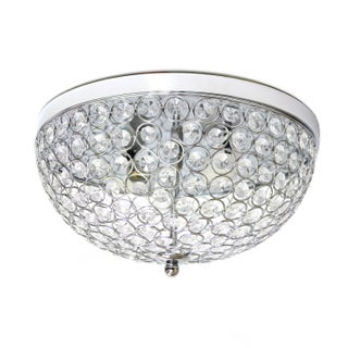 Silver Orchid Bergman 2-light Elipse Crystal Flush Mount (2 options available)