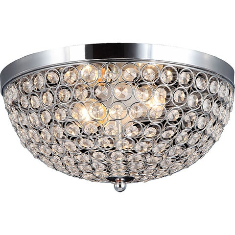 Silver Orchid Bergman 2-light Elipse Crystal Flush Mount